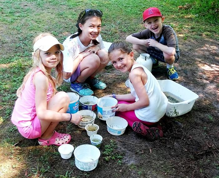 A photo of four kids at day camp looking in various tubs and plastic containers at aquatic critters gathered during a pond study program
