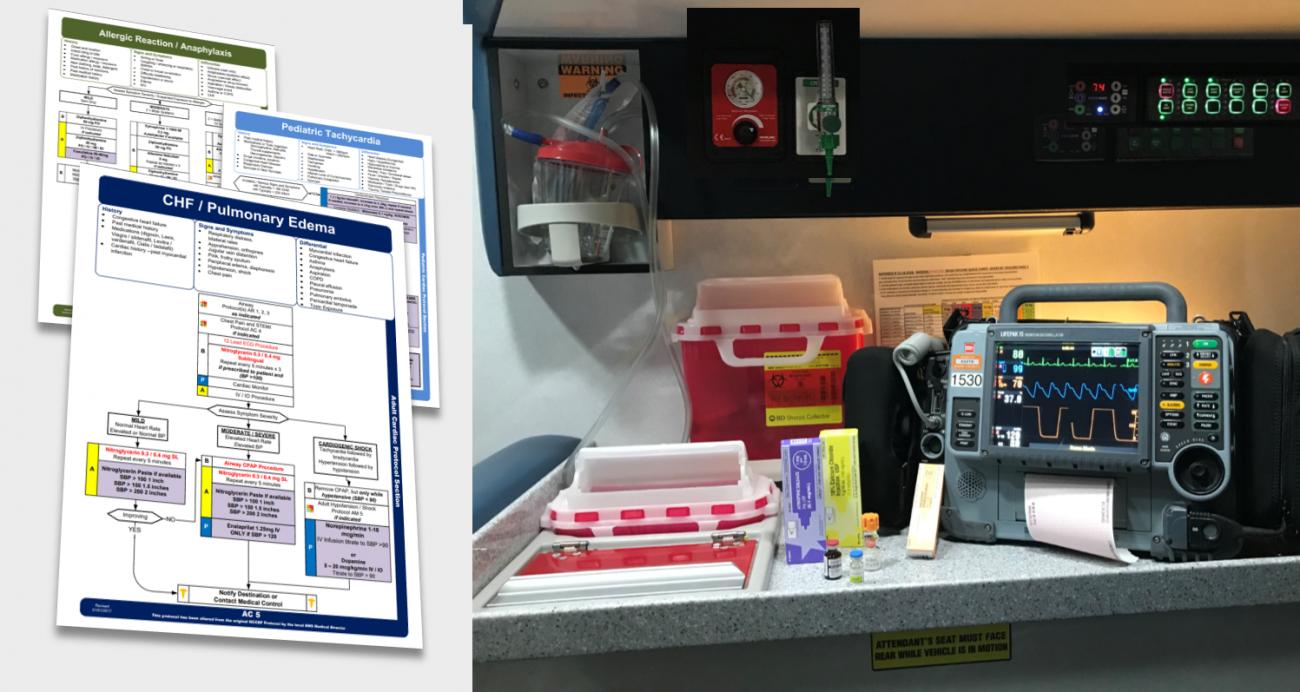 Paramedic equipment inside an ambulance
