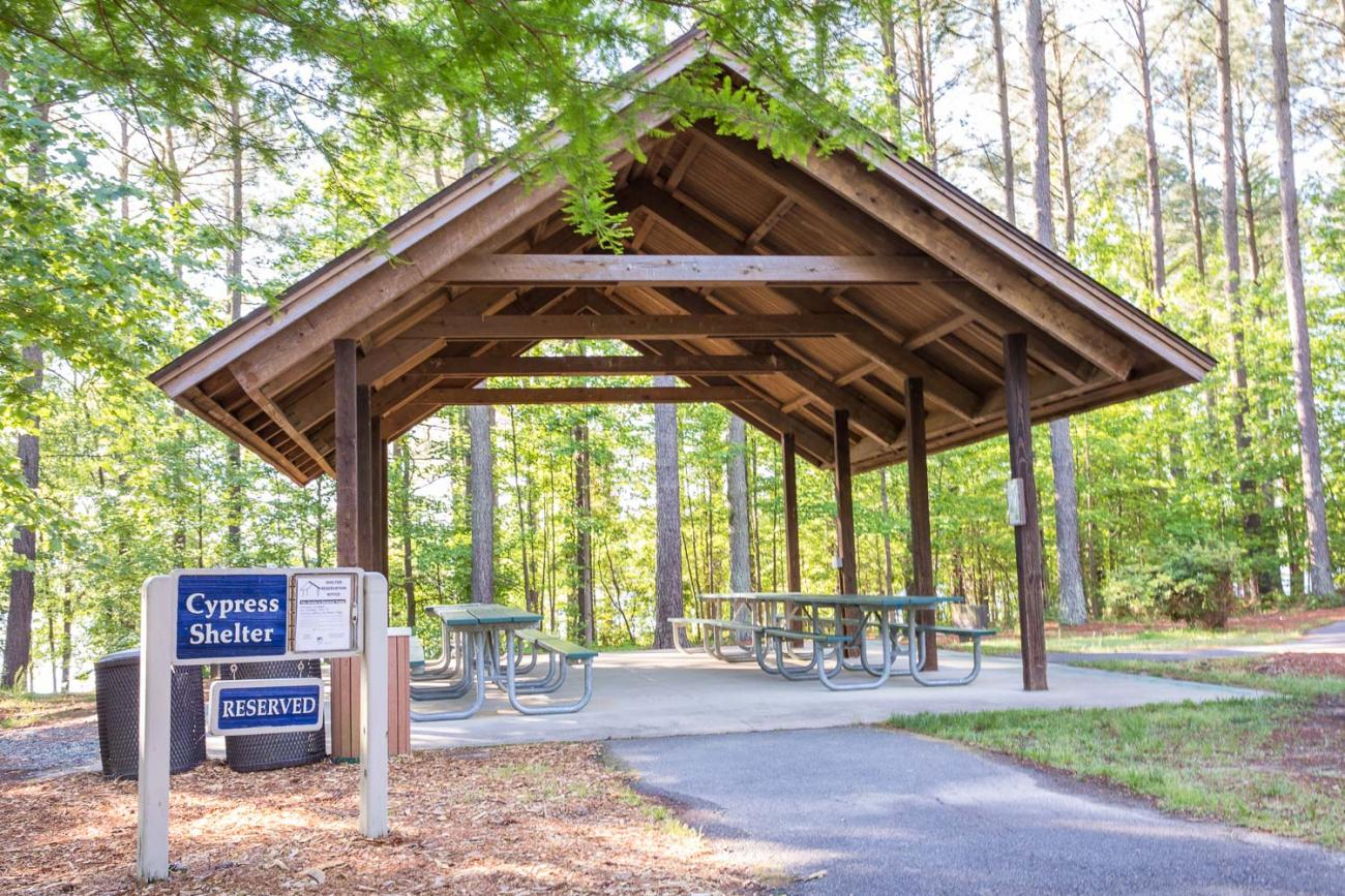 Photo of the Cypress Shelter at Harris Lake County Park