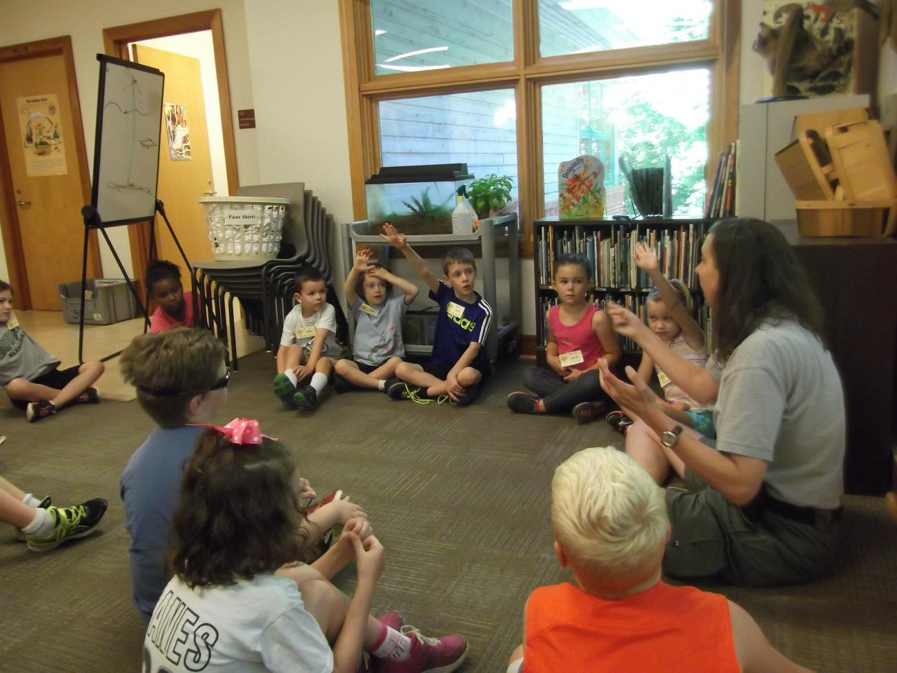 Kids and instructor sitting in a sharing circle at summer camp.
