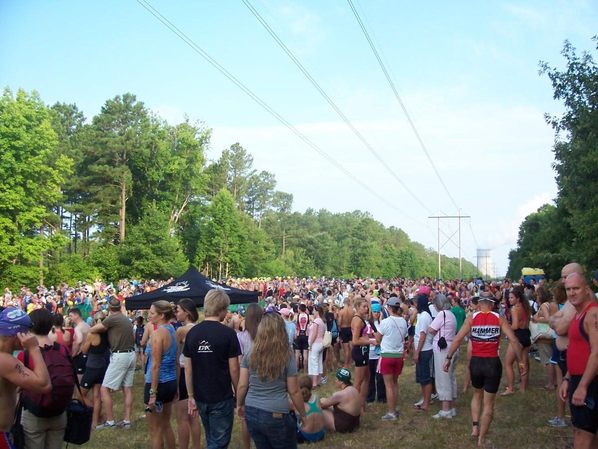 Photo of a large group of people gathering for the Triangle Triathlon
