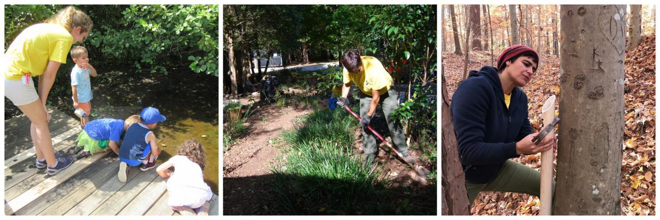 volunteers work in park garden, help children look at pond