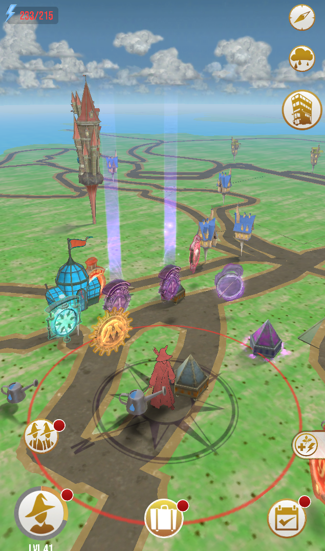 Screenshot of available assets in an augmented reality game at Blue Jay Point
