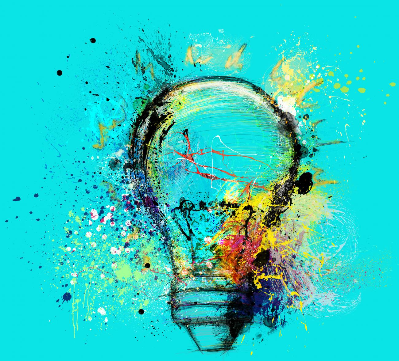 innovation, creativity, imagination concept - lightbulb exploding with colors