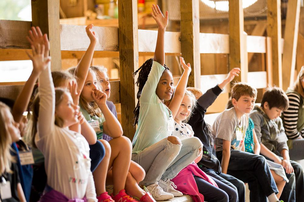 class of elementary students raising their hands during a park program in the livestock barn