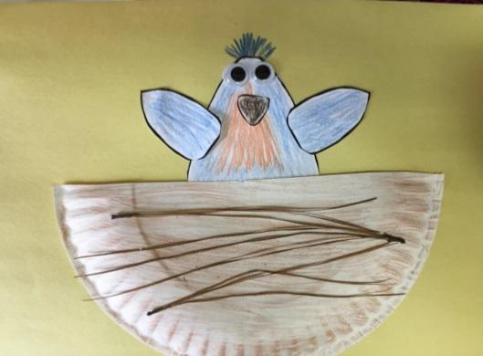 paper bird in paper plate craft example