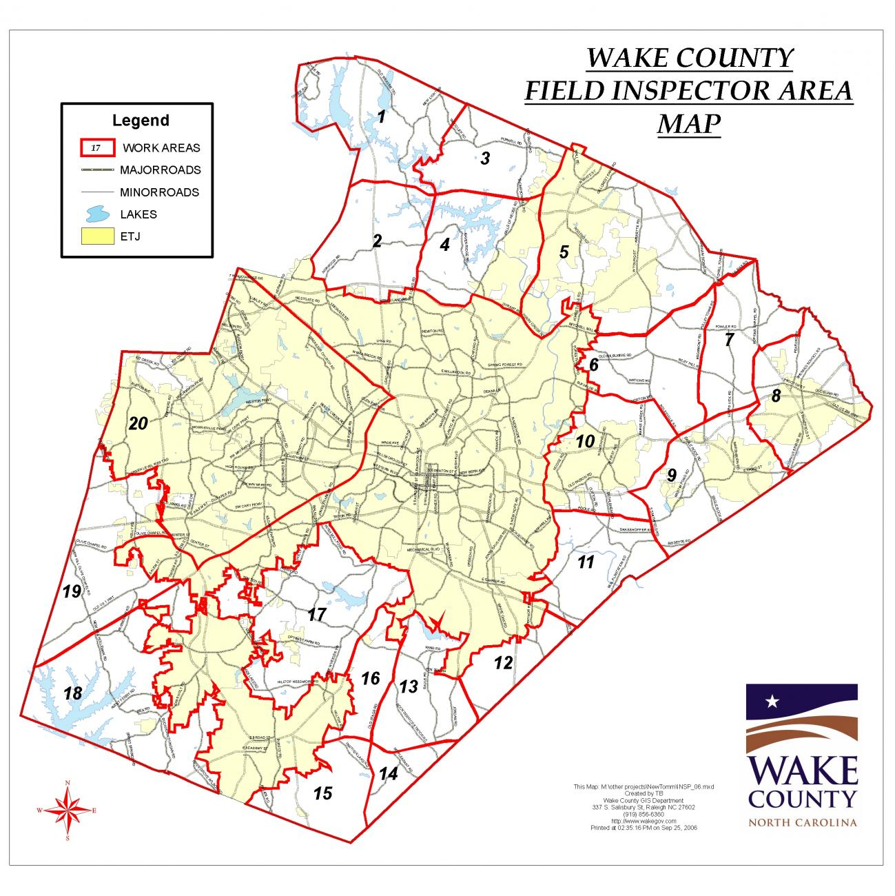map showing regions of the county where Wake County does building inspections