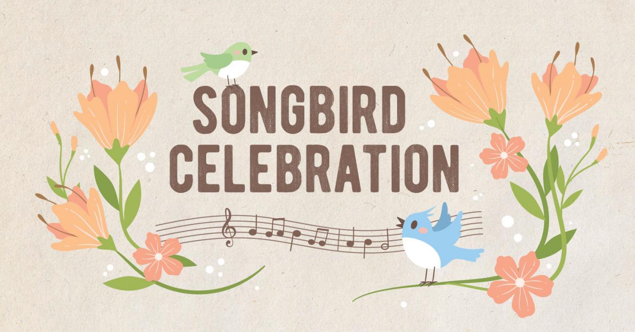 Songbird Celebration event banner in  beige with pastel birds