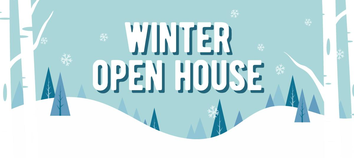 Banner advertising Blue Jay's Winter Open House the first Saturday in February on even numbered years