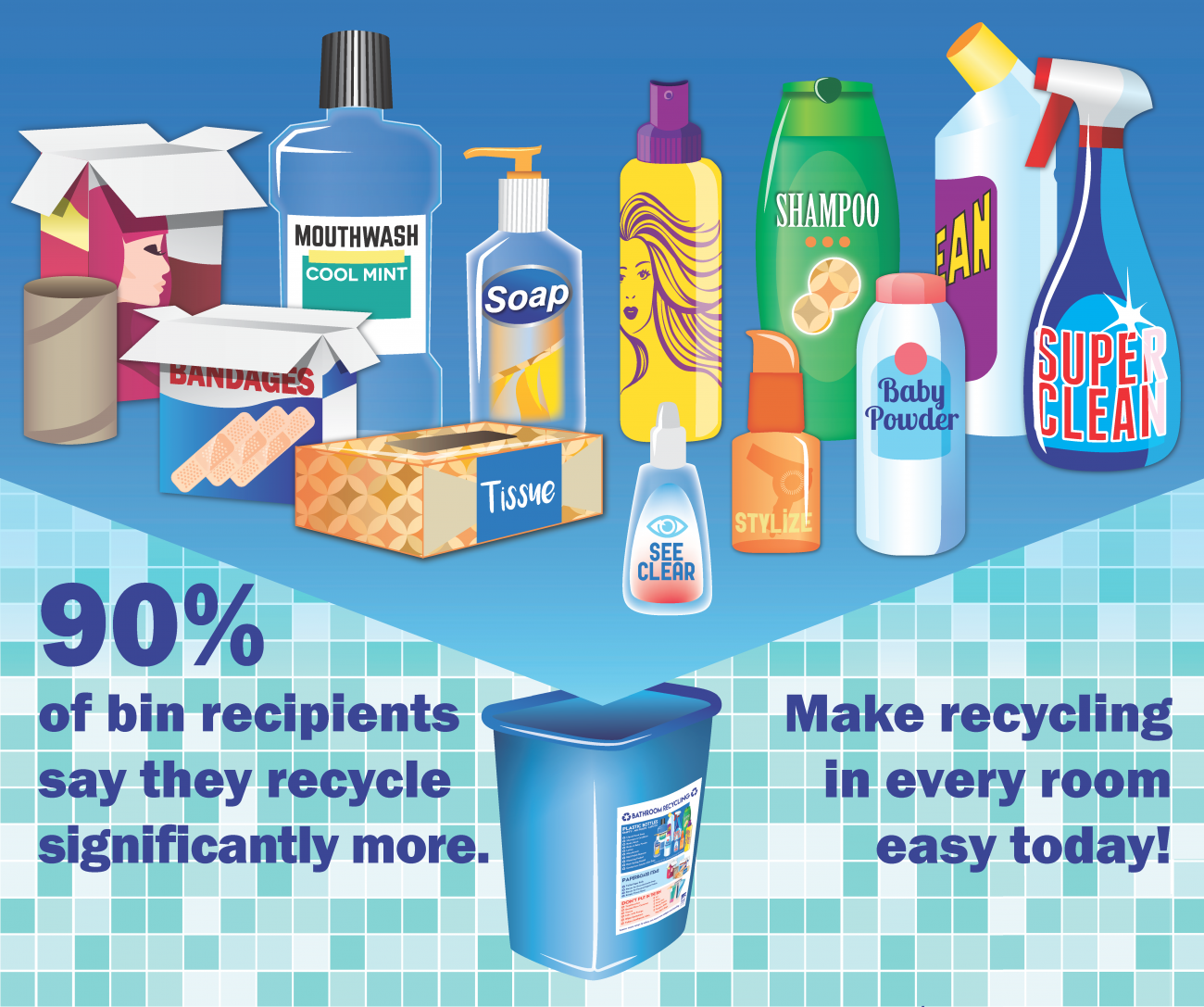 Flyer encouraging residents to recycle in every room of the house.