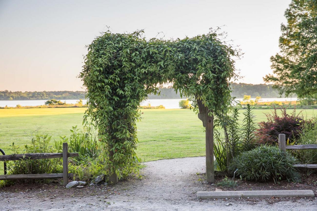 garden arch near floodplain