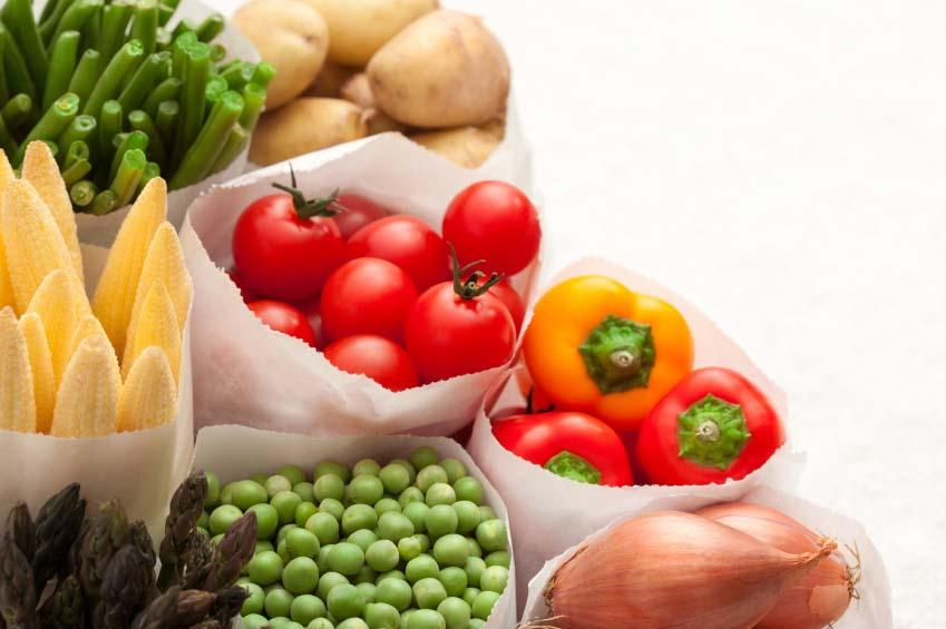 bags of fruits and vegetables