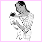 Illustration of a mother holding her infant child