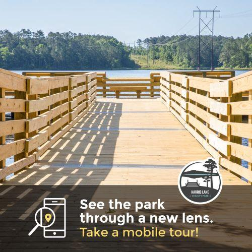 """""""Official"""" graphic for the Harris Lake County Park mobile tours"""