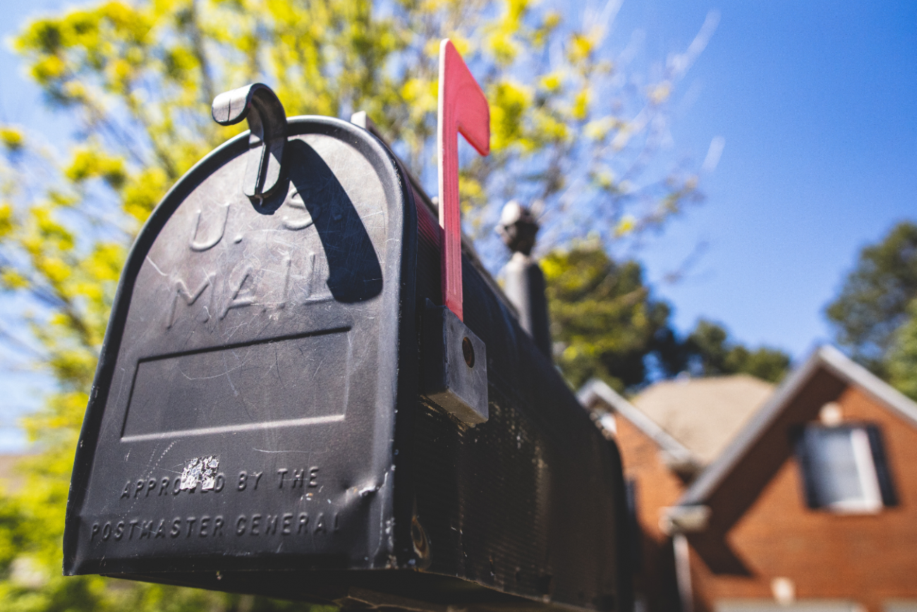 Mail box with flag raised