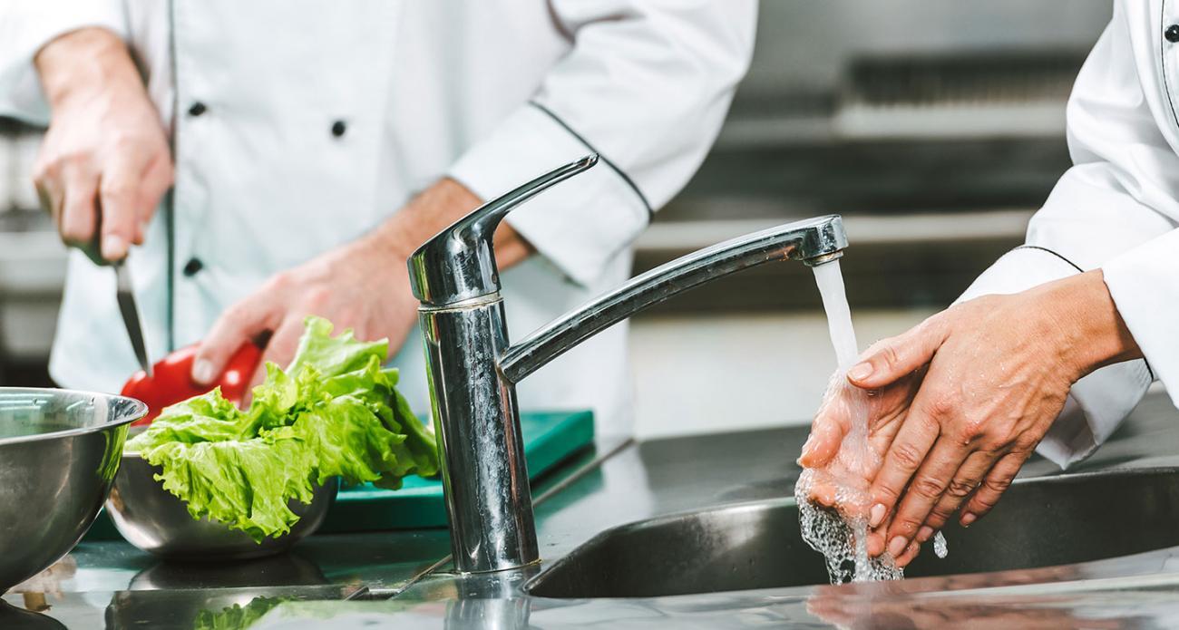 Chefs washing hands