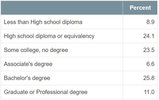 Hopkins Education Levels 2015-2019