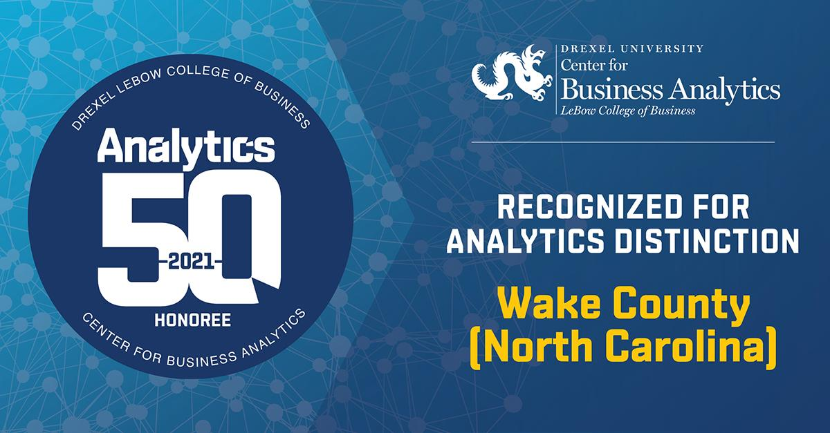 Drexel LeBow Analytics 50 award icon for Wake County