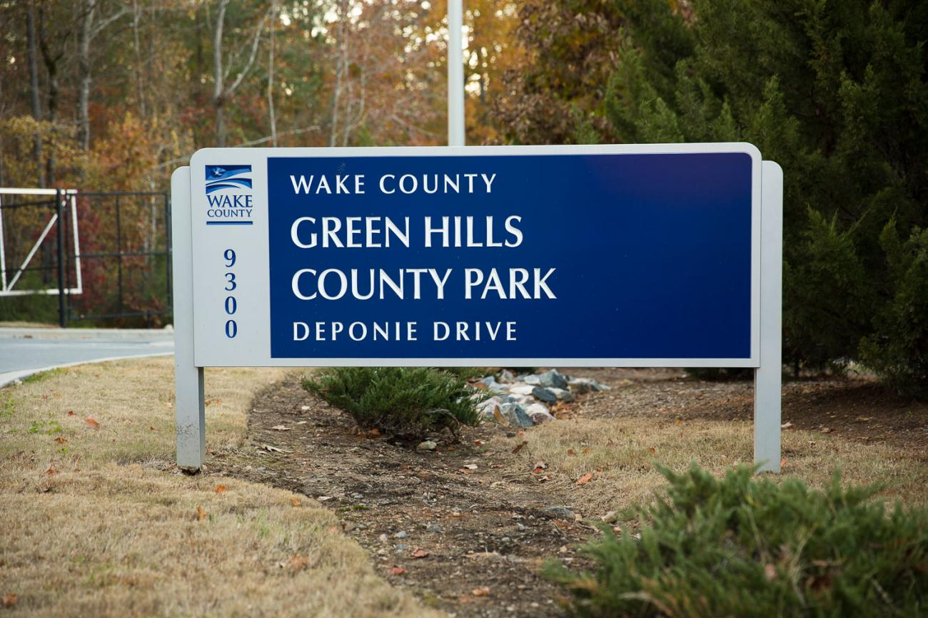 Front entrance sign for Green Hills County Park.
