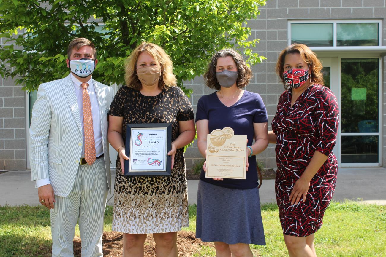 Abbotts Creek Elementary School receiving Watershed Stewardship Award