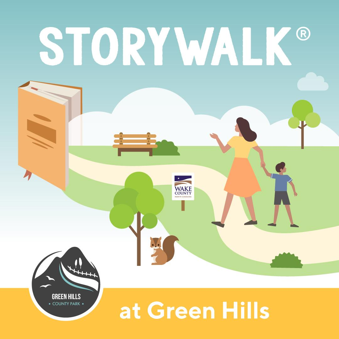 Graphic promoting StoryWalks at Green Hills