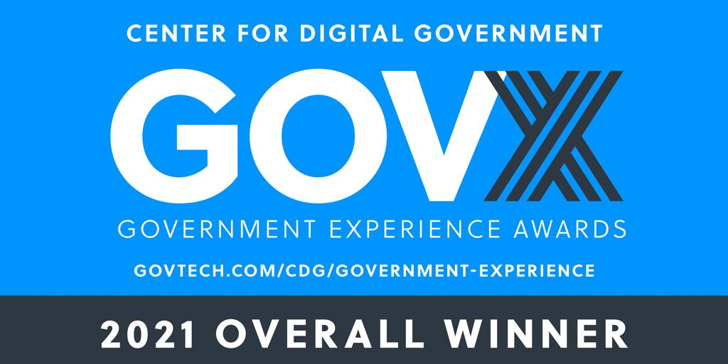 2021 government experience award winner badge (blue and black with text)