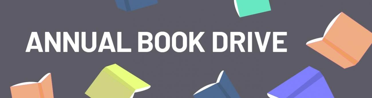 Annual Book Drive graphic, with multiple open book images