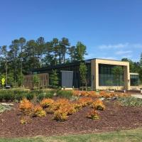 A picture of Morrisville Community Library from the Roundabout