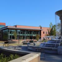 Cary Regional Library with fountain in front of it