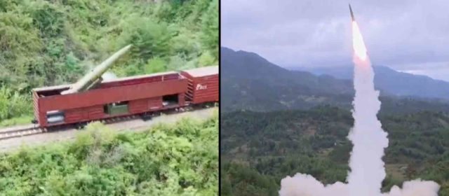North Korea fires ballistic missiles from train as Korean arms race intensifies