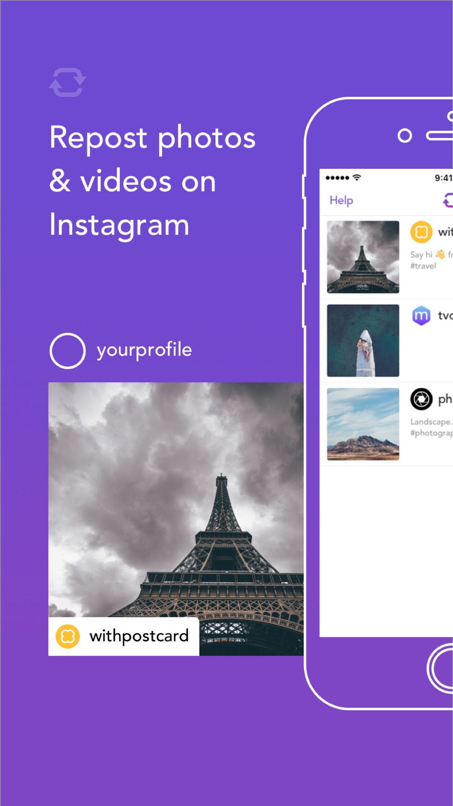 Example of Design for Photo & Video App , App Store Screenshot by Repost