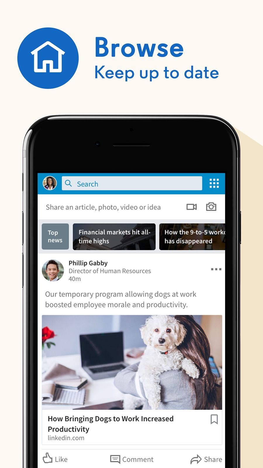 Example of Design for Social Networking App , App Store Screenshot by LinkedIn