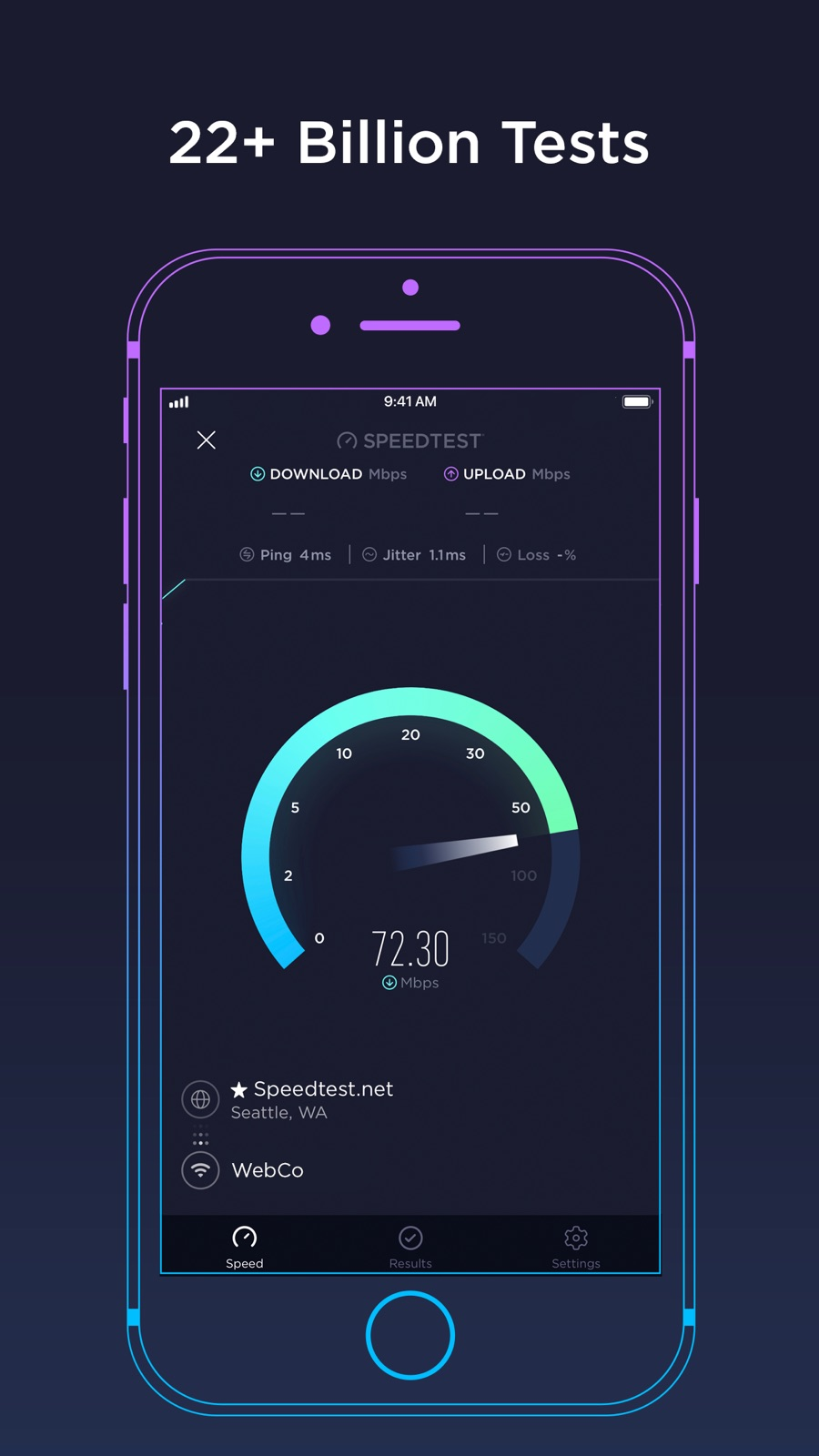 Example of Design for Utilities App , App Store Screenshot by Speedtest by Ookla