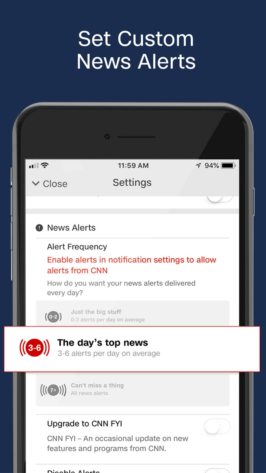 Example of Design for News App , App Store Screenshot by CNN