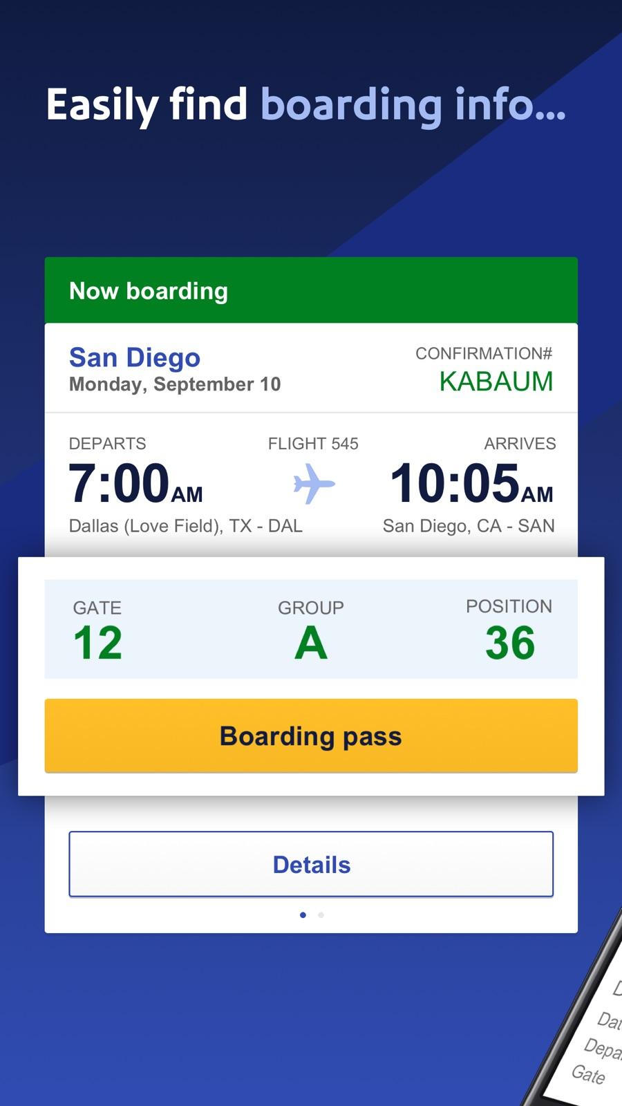 Example of Design for Travel & Local App , App Store Screenshot by Southwest Airlines