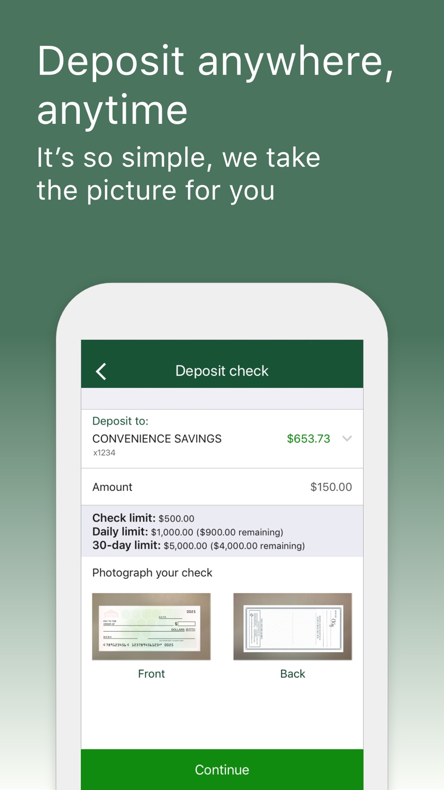 Example of Design for Finance App , App Store Screenshot by TD Bank (US)