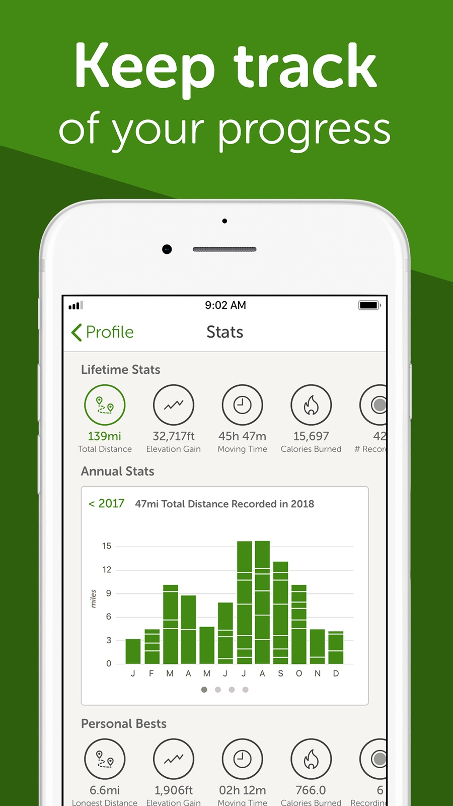 Example of Design for Health & Fitness App , App Store Screenshot by AllTrails