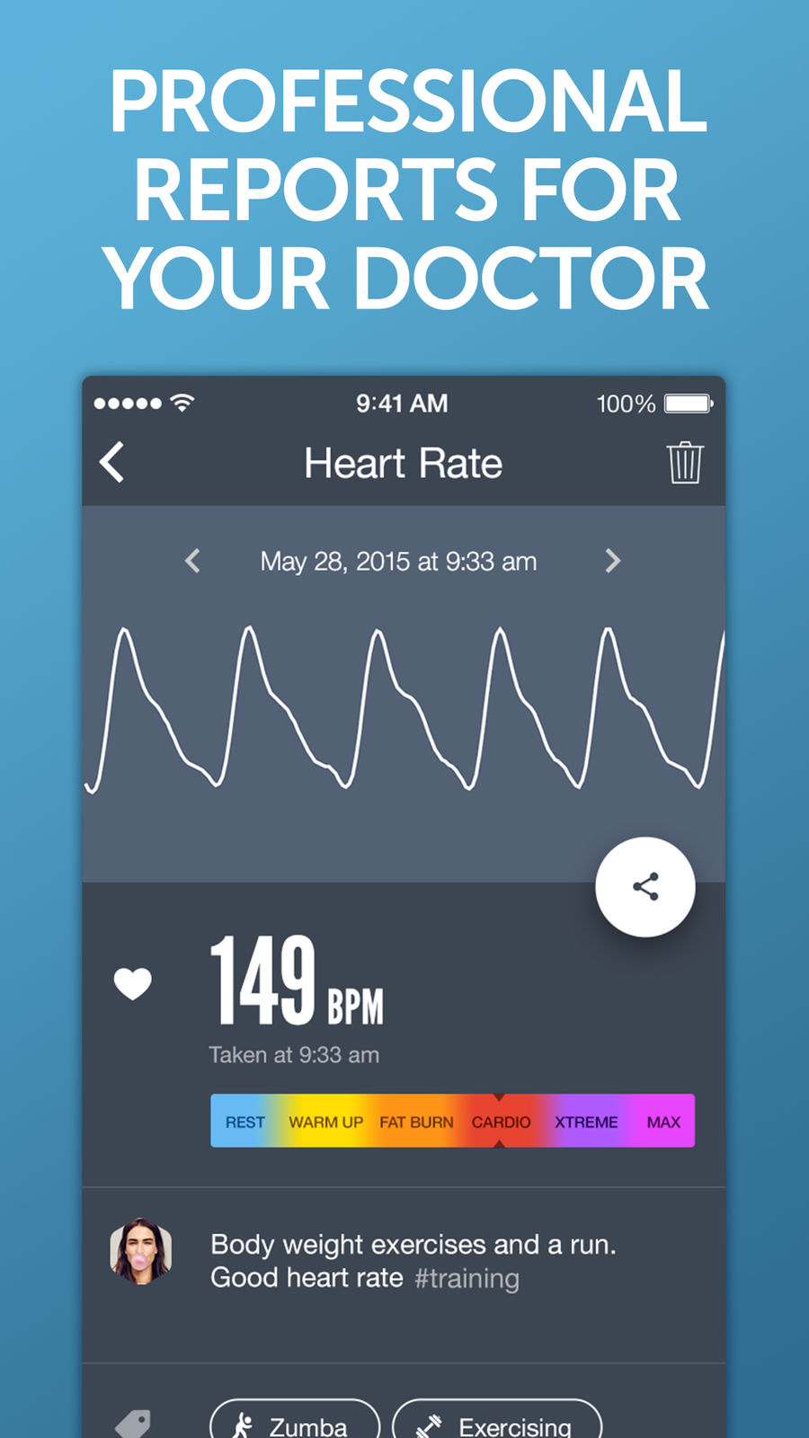 Example of Design for Health & Fitness App , App Store Screenshot by Instant Heart Rate