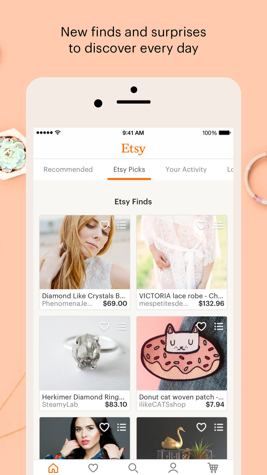 Example of Design for Shopping App , App Store Screenshot by Etsy – Shop Creative