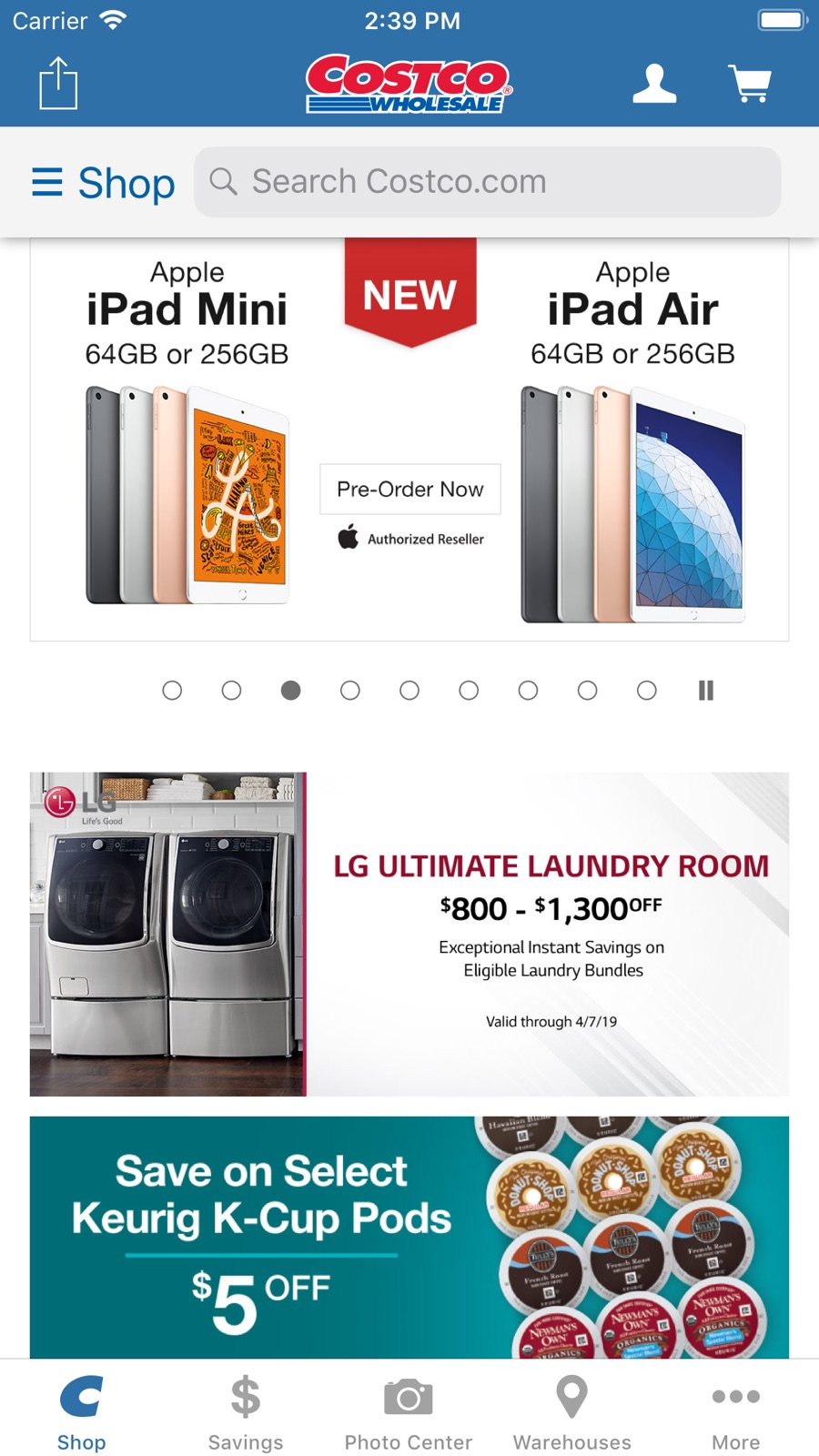 Example of Design for Shopping App , App Store Screenshot by Costco
