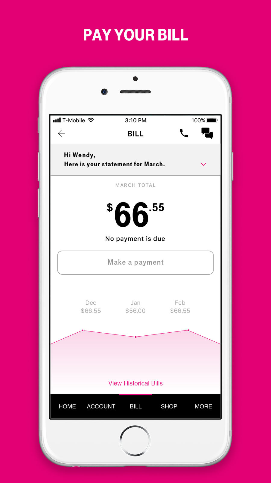 Example of Design for Utilities App , App Store Screenshot by T-Mobile