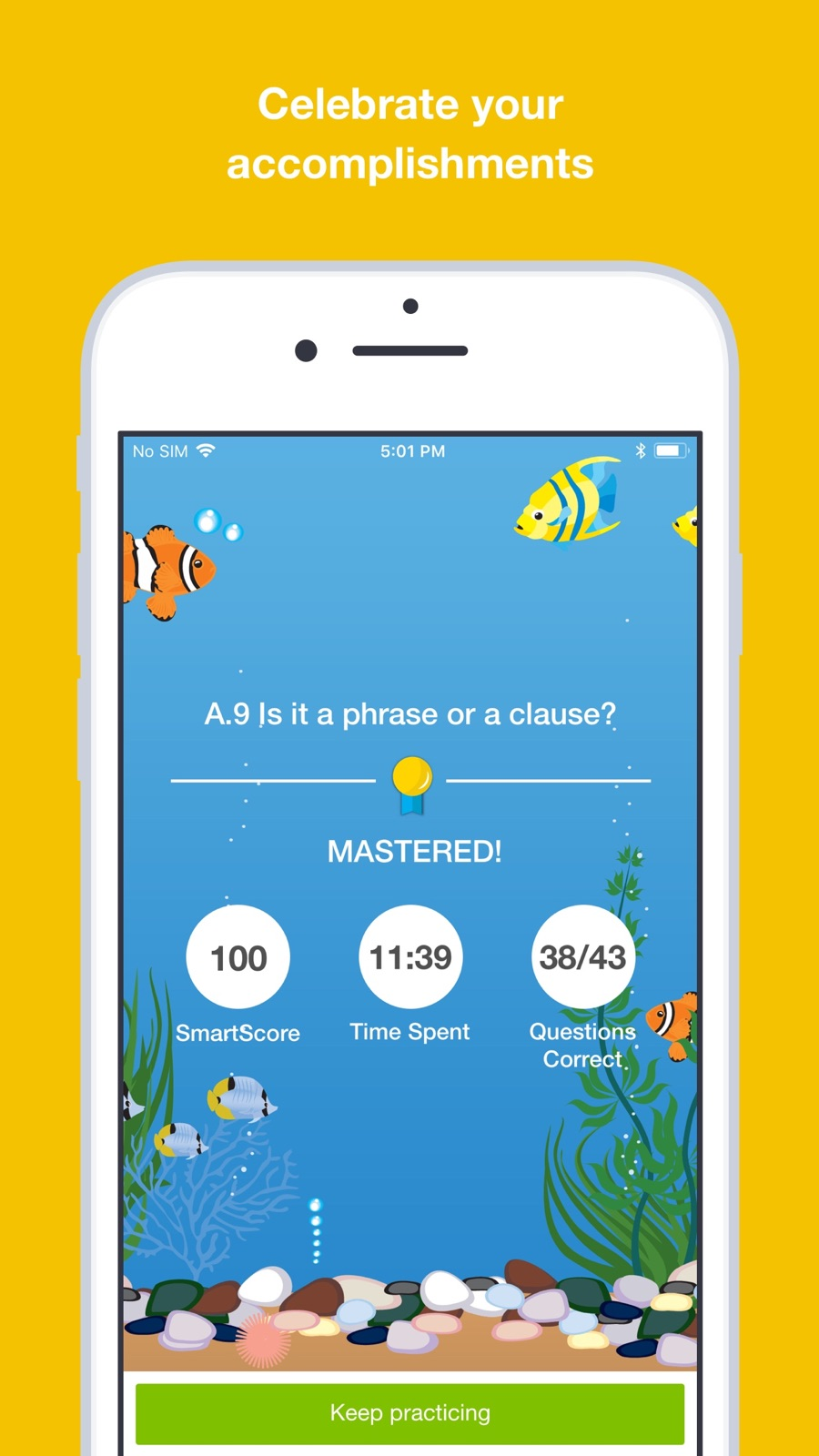 Example of Design for Education App , App Store Screenshot by IXL