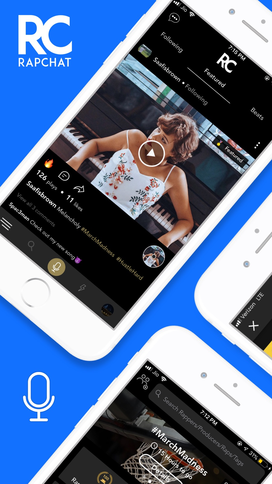 Example of Design for Music & Audio App , App Store Screenshot by Rapchat
