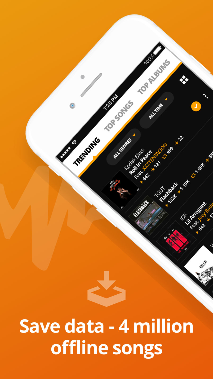 Example of Design for Music & Audio App , App Store Screenshot by Audiomack