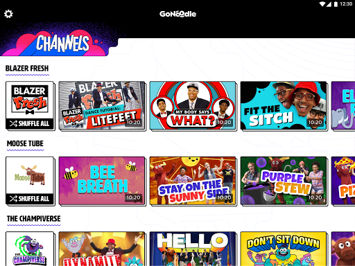 Example of Design for Entertainment App , App Store Screenshot by GoNoodle