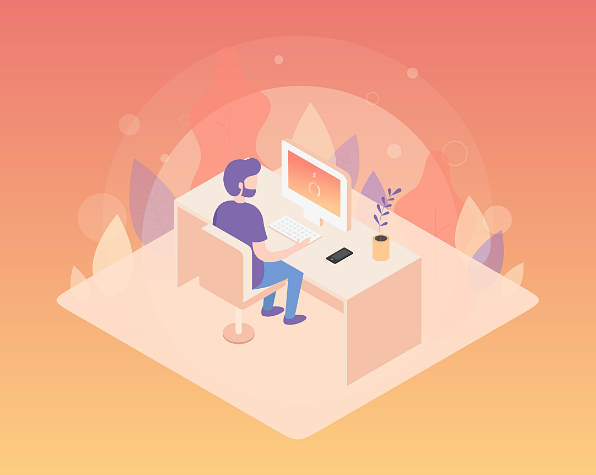 Example of Design for Person, computer, keyboard, phone, plant, desk, seat, Web Illustrations by sereneapp-com | Illustration Design