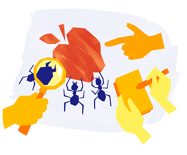 Example of Design for hand, magnifying glass, apple, ant, notebook, pen, Web Illustrations by new-edmodo-com   Illustration Design