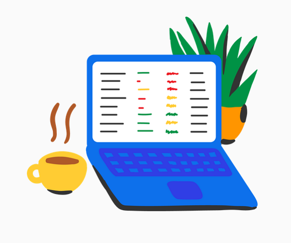Example of Design for laptop, coffee, computer, plant, Web Illustrations by edpuzzle-com | Illustration Design