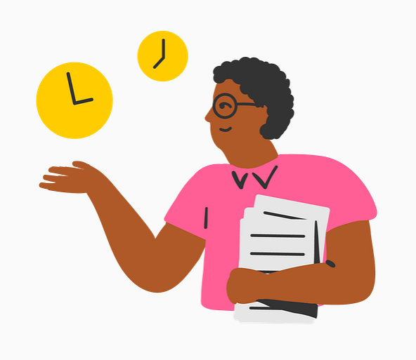 Example of Design for clock, Person, document, Web Illustrations by edpuzzle-com | Illustration Design