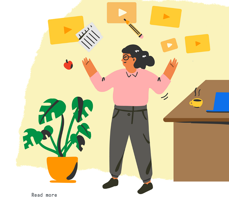 Example of Design for Person, video, desk, coffee, plant, apple, pencil, document, Web Illustrations by edpuzzle-com | Illustration Design